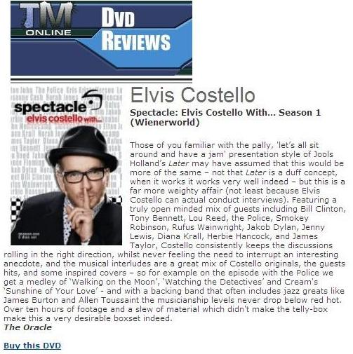 Spectacle – Elvis Costello With… Season 1 (DVD) -723